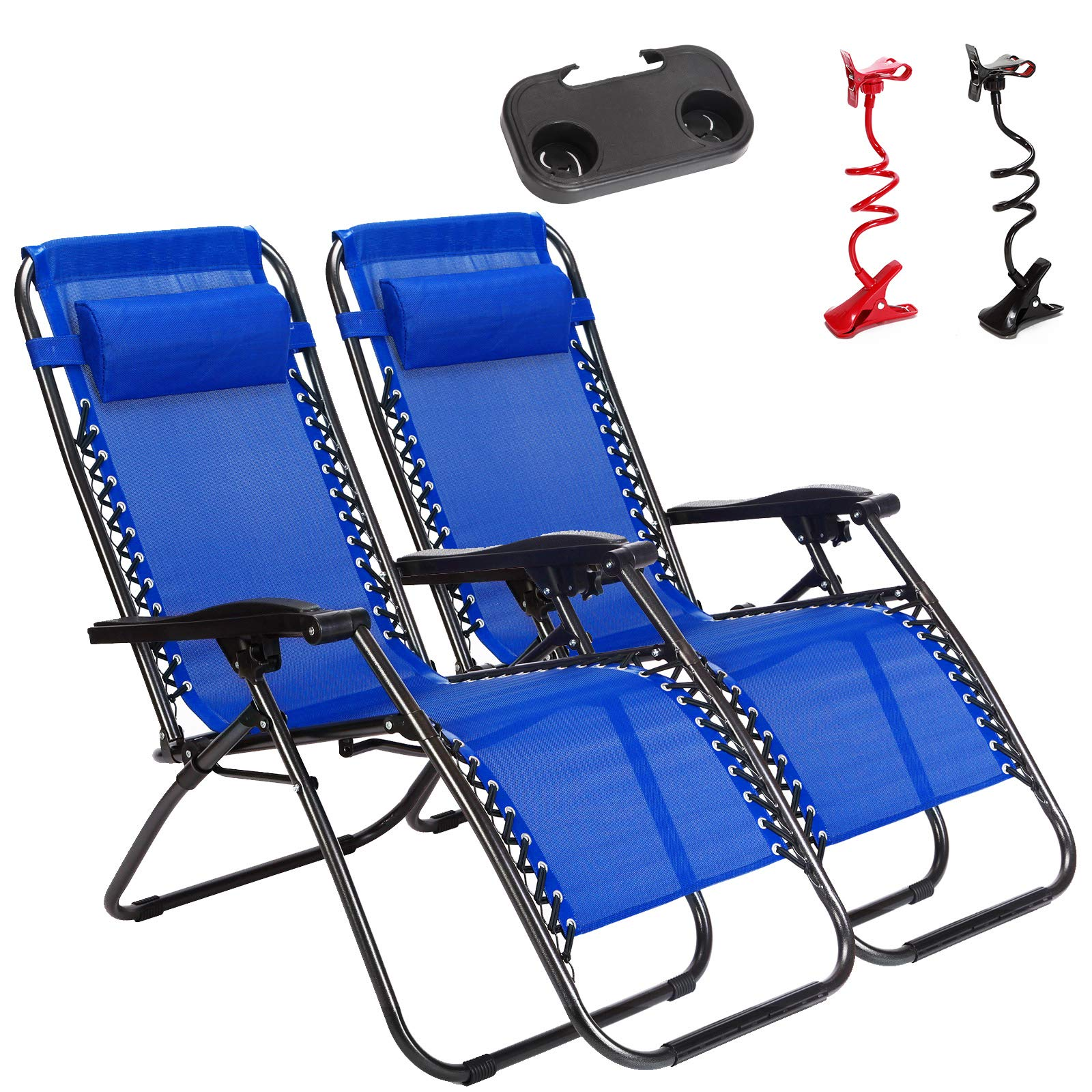Unihome 2 Pack Zero Gravity Lounge Chair Reclining for Patio Beach Outdoor Camping Pool Yard Set of Pair with Free Drink Utility Tray & Cell Phone Holder