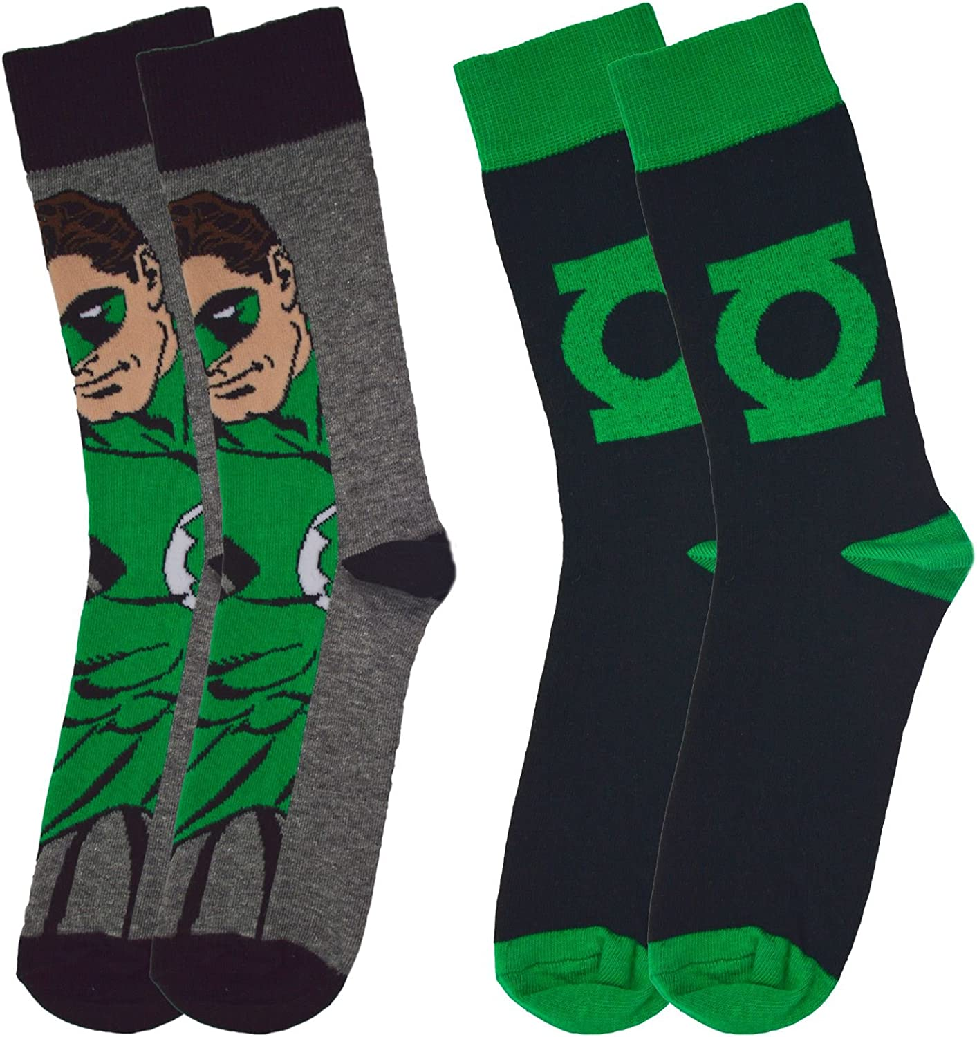 Official DC Comics Green Lantern Character Assorted Socks (2 Pairs) - One Size