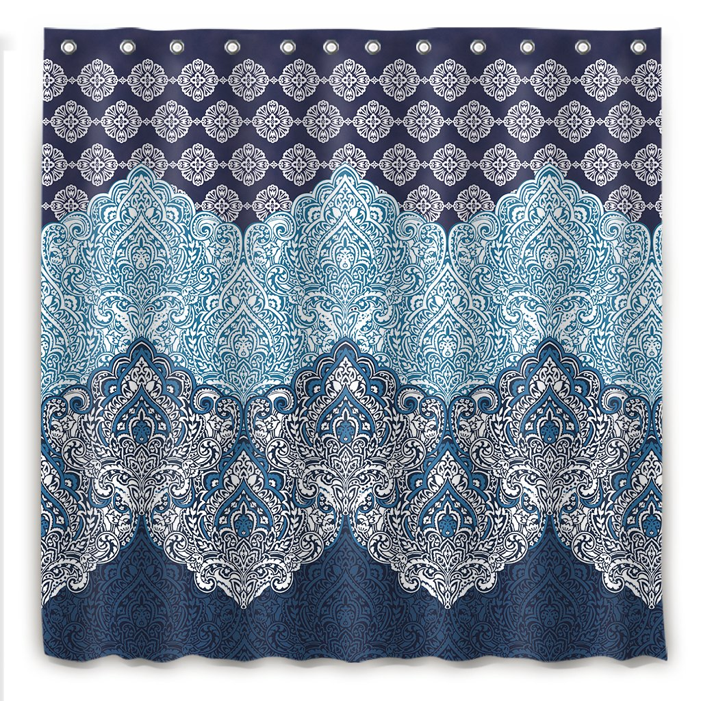 Cdcurtain Boho Paisley Shower Curtain Panel Free Metal Hooks 12-Pack Floral India Bohemia Dark Navy Shower Curtain Panel Polyester Waterproof Fabric Clawfoot Tub 72x72 Inch by Cdcurtain (Image #3)