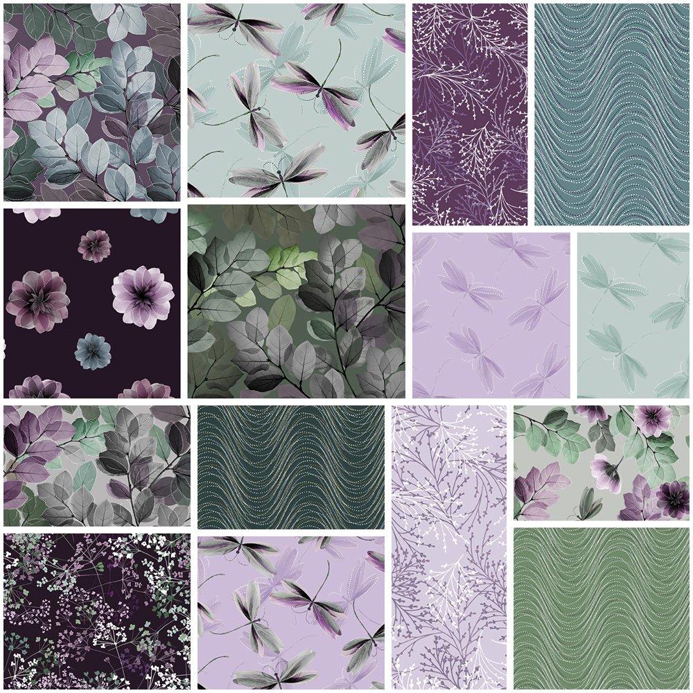 Essence of Pearl Purple Jelly Roll by Benartex 40 2 1/2'' strips, Assorted