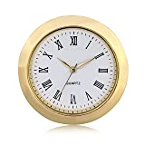 "ShoppeWatch Mini Clock Insert Quartz Movement Round 1 7/16"" (35mm) Miniature Clock Fit Up White Dial Gold Tone Bezel Roman Numerals CK096GD"