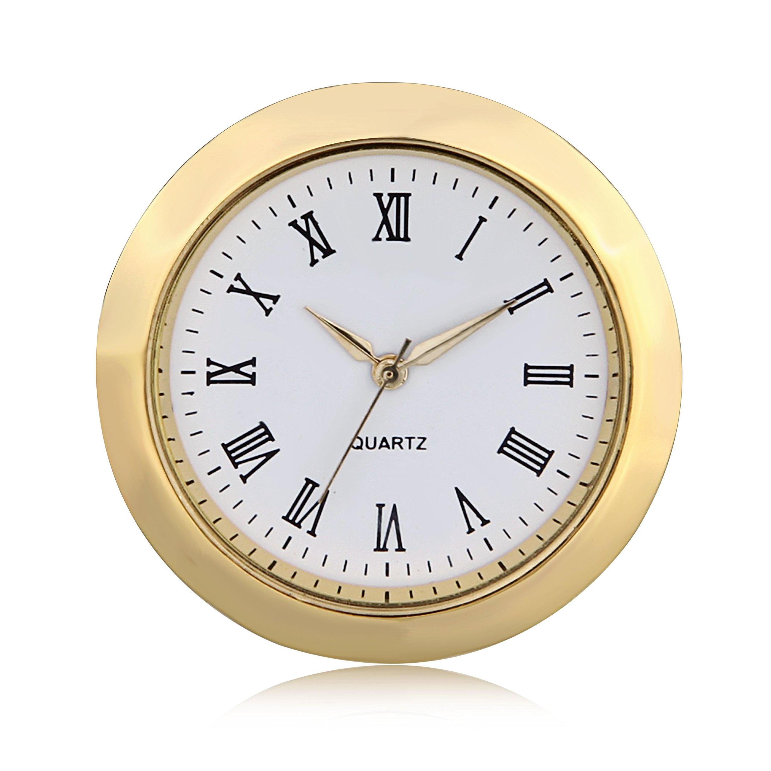 ShoppeWatch Mini Clock Insert Quartz Movement Round 1 7/16'' (35mm) Miniature Clock Fit Up White Dial Gold Tone Bezel Roman Numerals CK096GD