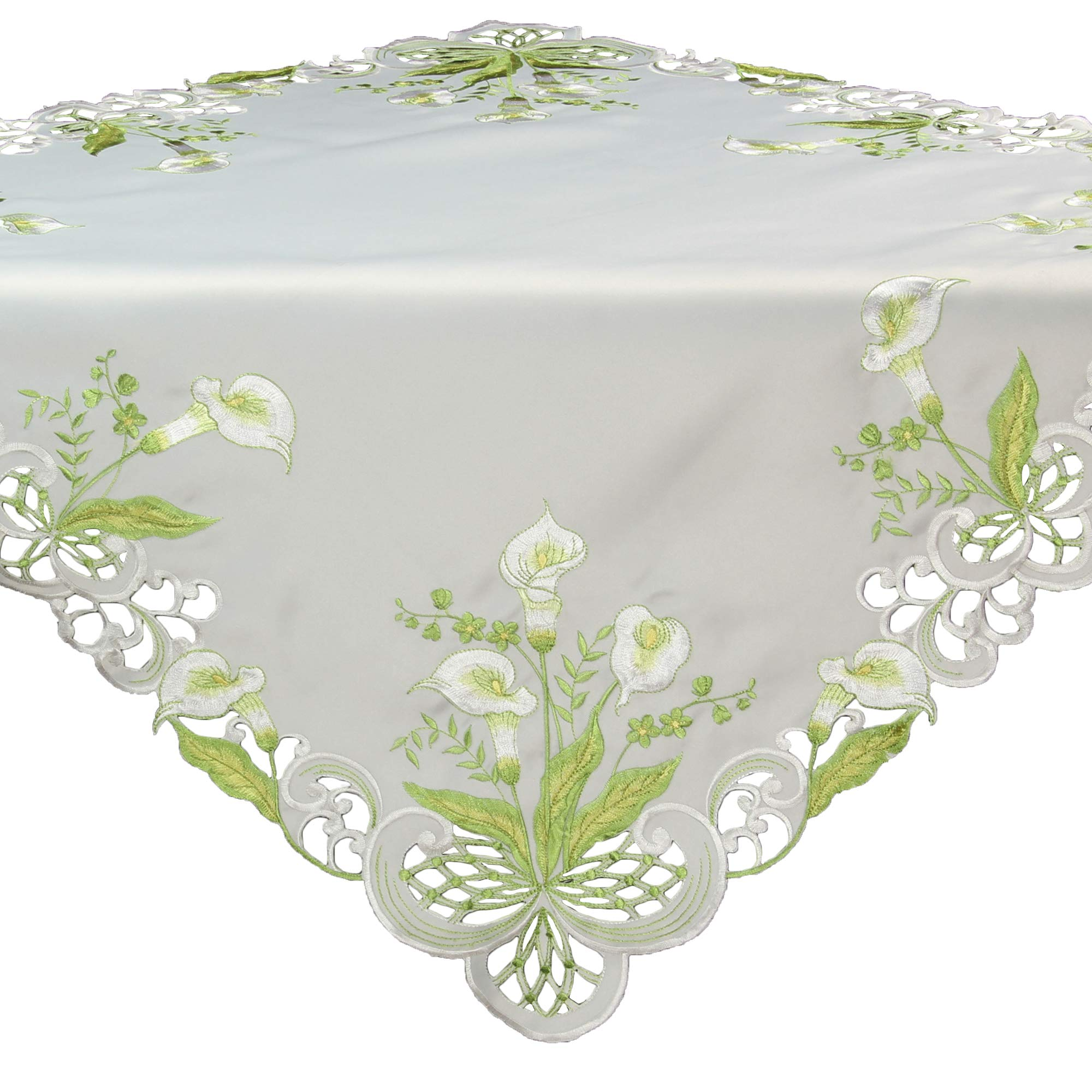 Quinnyshop White Calla Lily Spring Embroidery Tablecloth Table Overlay Approx. 34-inch-by-34-inch / 85 x 85 cm Satin-Look, White by Quinnyshop