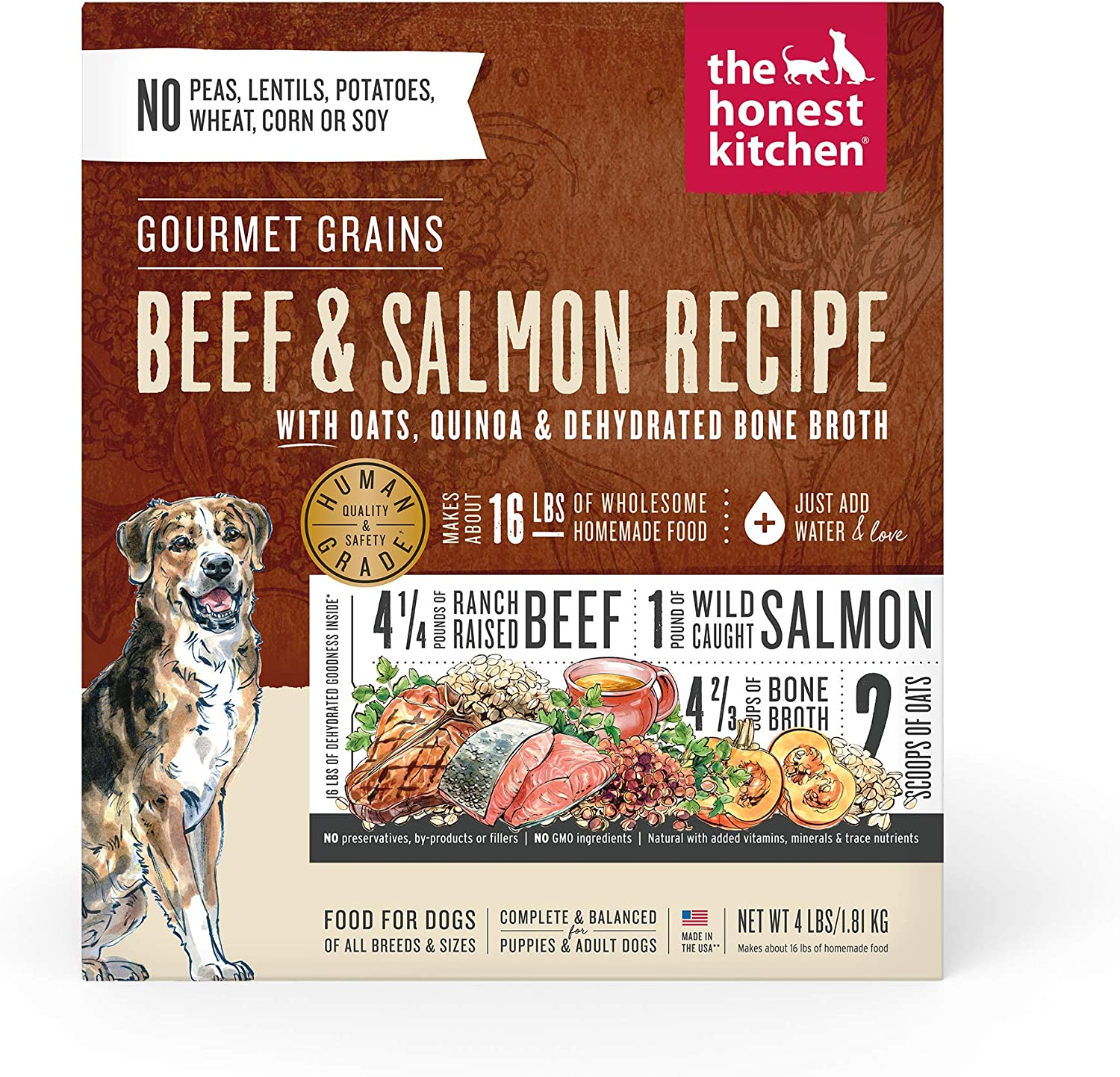 The Honest Kitchen Gourmet Grains Beef & Salmon Recipe Dehydrated Dog Food, 4 lb box