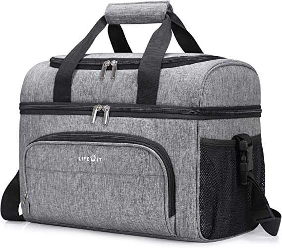 Lifewit Collapsible Cooler Bag 32-Can Insulated Leakproof Soft Cooler Portable Double Decker Cooler Tote for Trip/Picnic/Sports/Flight