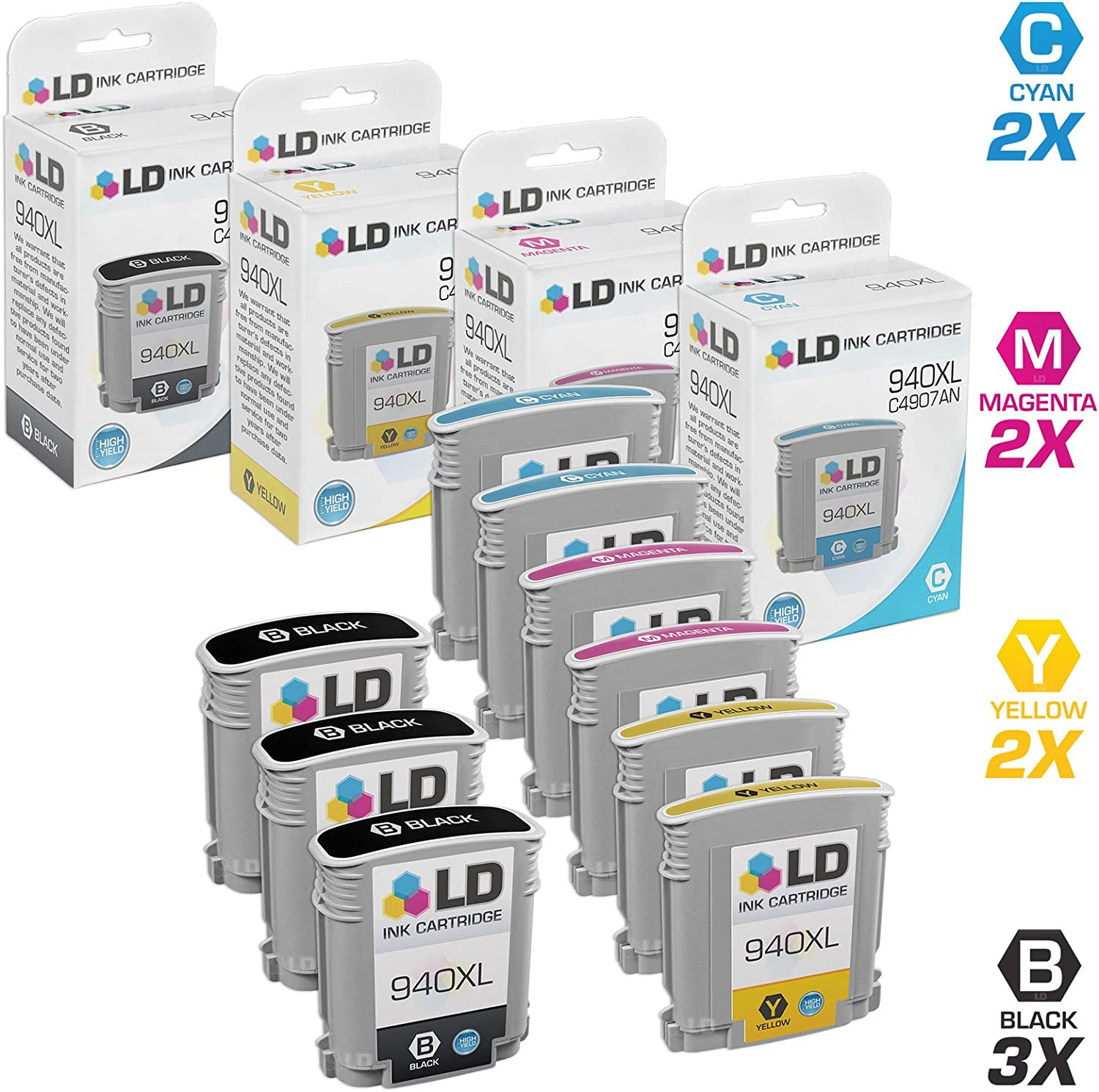 LD Remanufactured Ink Cartridge Replacement for HP 940XL High Yield (3 Black, 2 Cyan, 2 Magenta, 2 Yellow, 9-Pack)