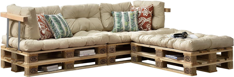 [en.casa] Cojines para sofá de palés 'europalés' - Set - 3 Cojines de Asiento + 5 Cojines de Respaldo Beige - Muebles DIY - Ideal para salón - Sala de Estar