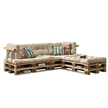 [en.casa] Cojines para sofá de palés europalés - set - 3 cojines de asiento + 5 cojines de respaldo beige - muebles DIY - ideal para salón - sala de ...
