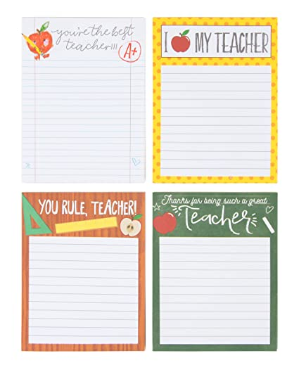 Teacher Notepads - 4-Pack Memo Note Pads for Teacher Day, Students, School  and Classroom, Best Teacher Gift, 4 Assorted Designs, 50 Sheets Each, 4 x  ...