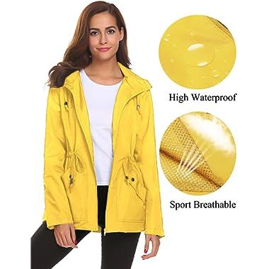 Romanstii Rain Jacket Women Waterproof Hood Lightweight Raincoat Outdoor Windbreaker