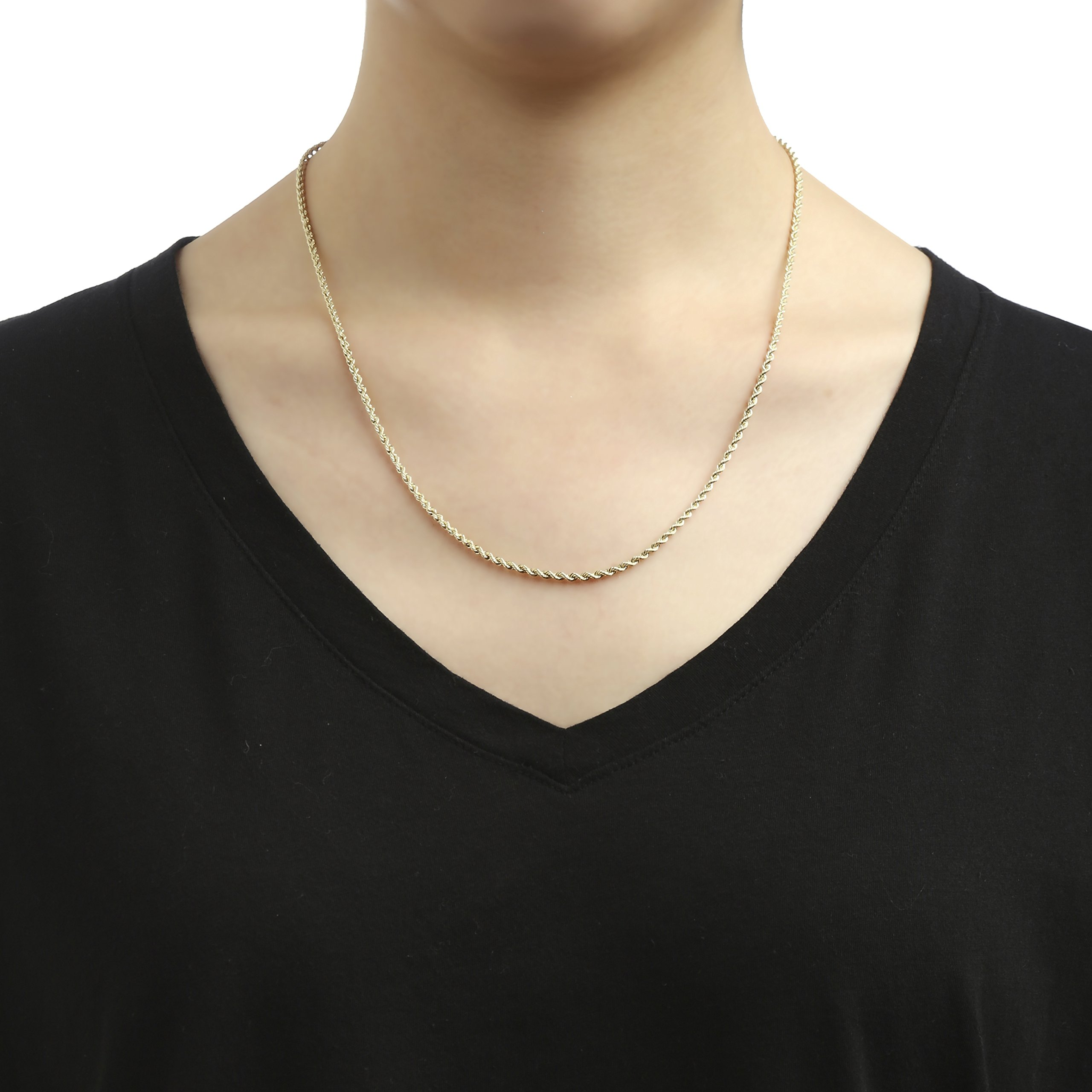 18 Inch 10k Yellow Gold Hollow Rope Chain Necklace with Lobster Claw Clasp for Women and Men, 2mm by SL Chain Collection (Image #3)