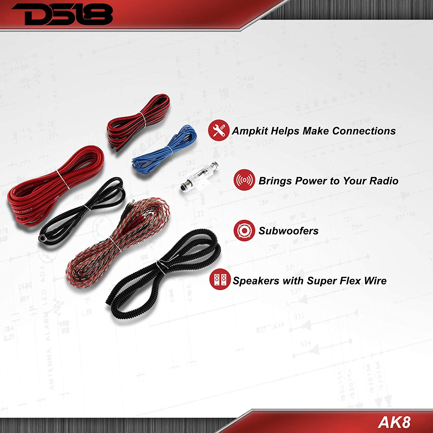 Brings Power to Your Radio Speakers with Super Flex Wire Subwoofers DS18 AK8 Complete 8 Gauge CCA Amplifier Installation Wiring Kit Ampkit Helps Make Connections 960W for 1 Amplifier