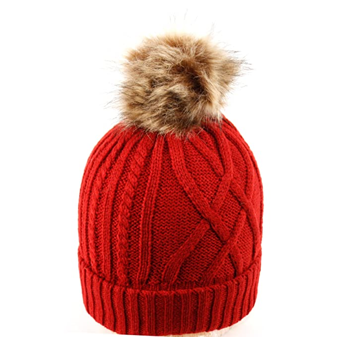 7c8217126e7 BN2126 Warm Soft Winter Thick Knit Fuzzy Lined Faux Fur Pom Beanie (RED)