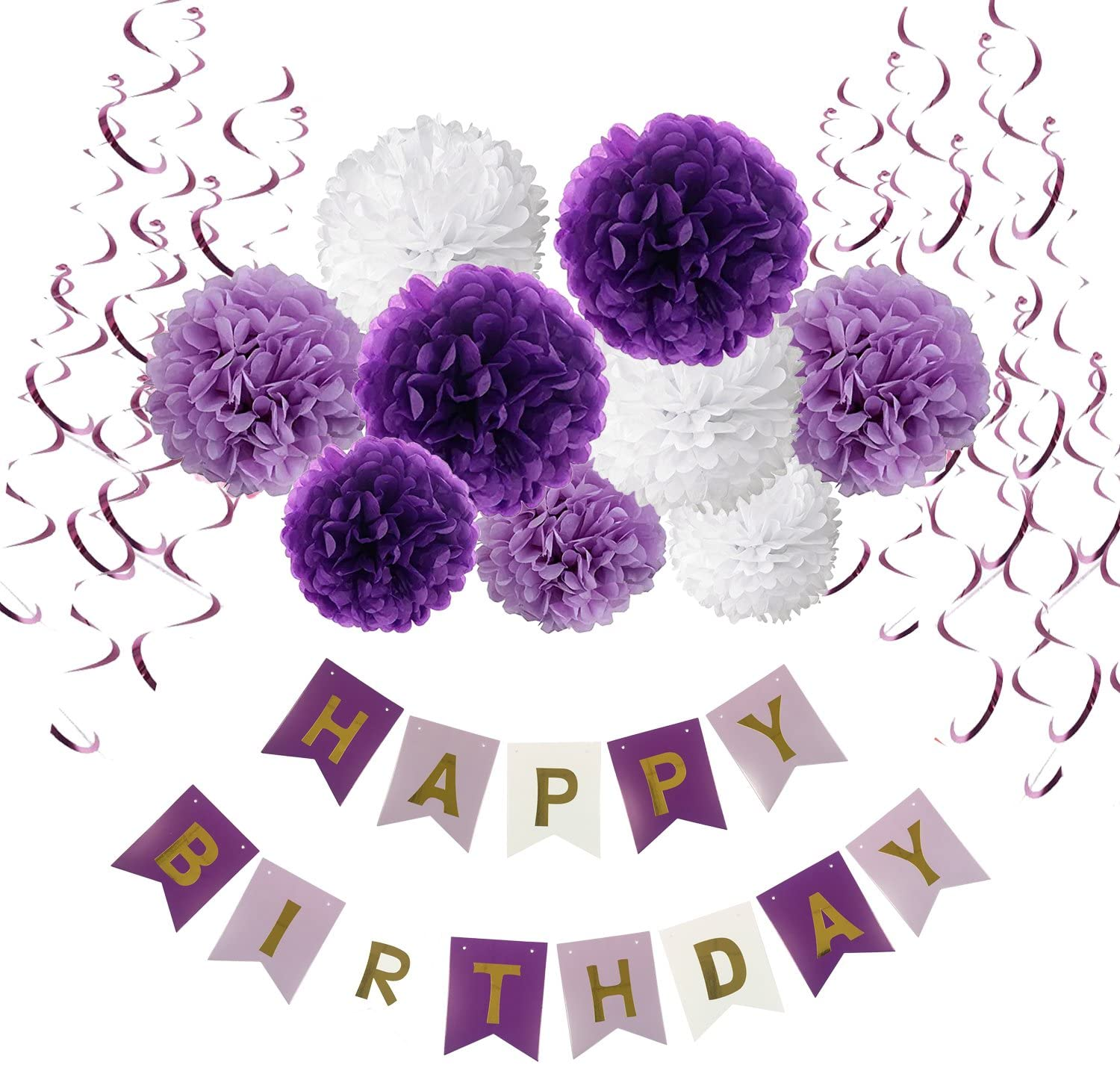 Recosis Birthday Decorations, Happy Birthday Banner Bunting with Tissue Paper Pom Poms and Hanging Swirl Decor for Birthday Party Decorations - Purple, Lavender and White