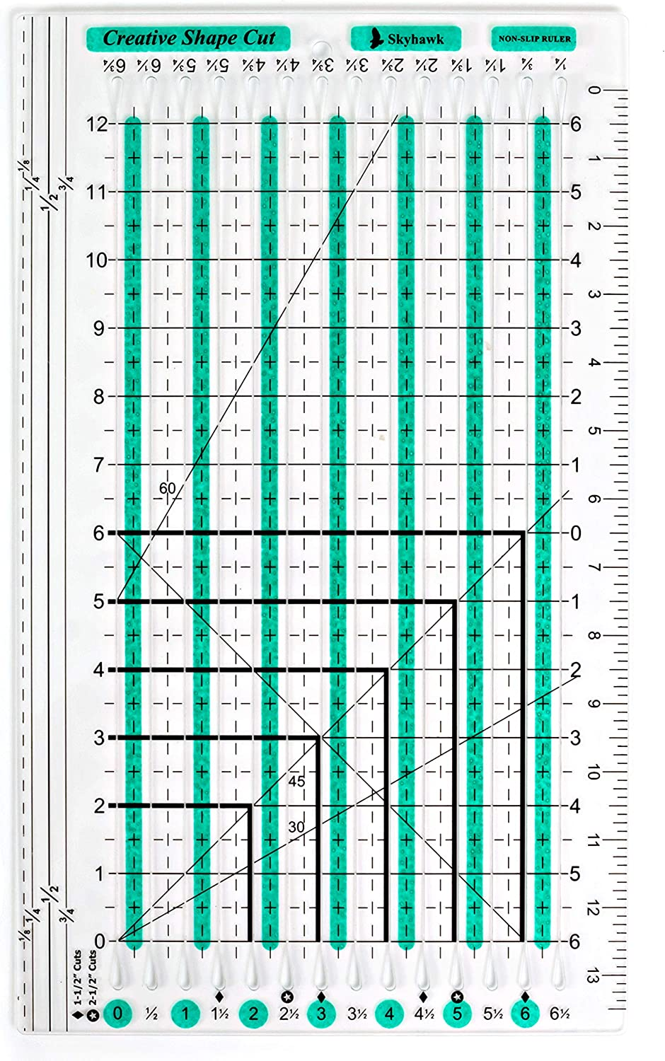 "Skyhawk Creative Shape Cut Non-Slip Slotted Cutting Ruler 6.5"" x 12"" Grid for Quilting and Sewing"