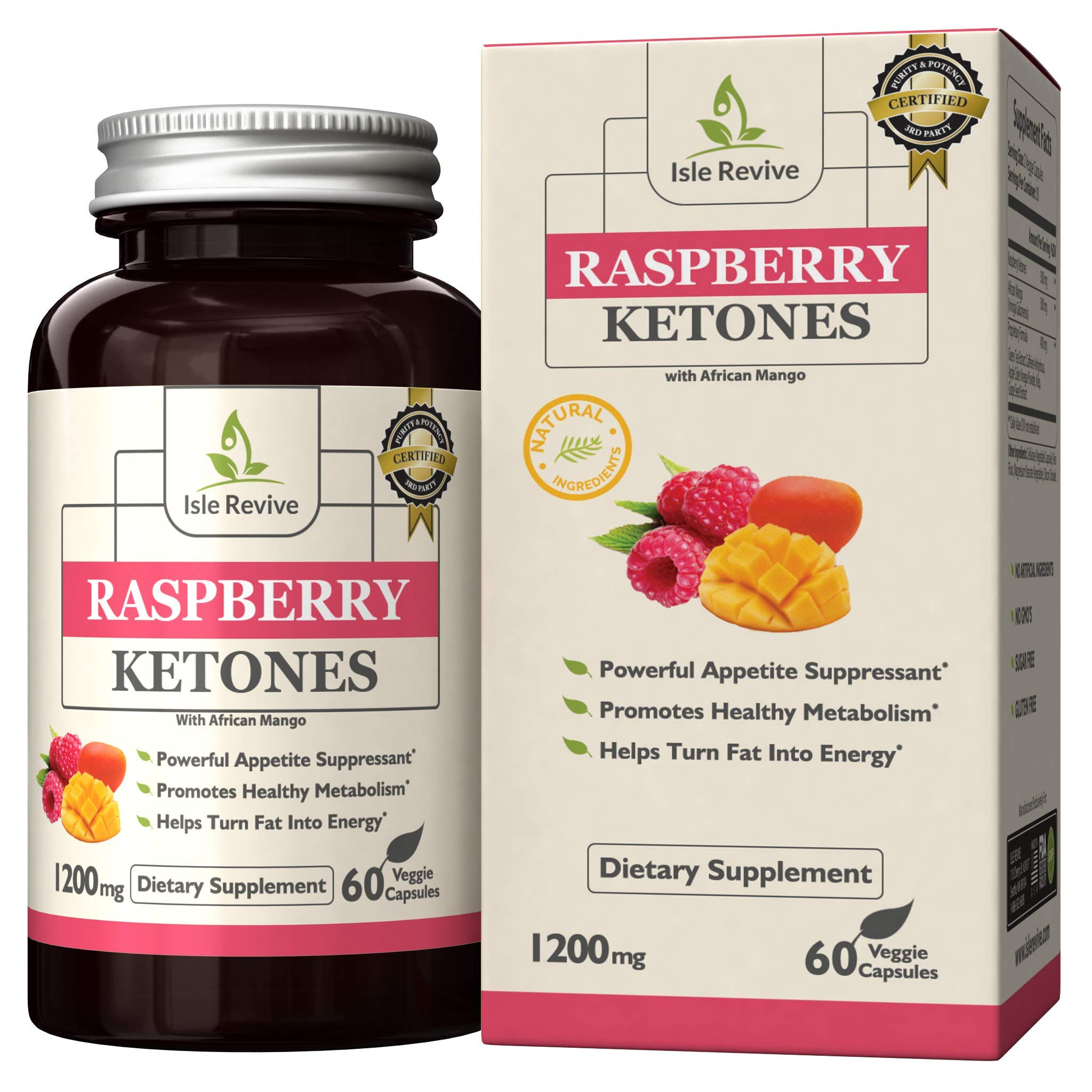 Raspberry Ketones Weight Loss Dietary Supplement with African Mango Extract, All-Natural Keto Diet Pills for Women and Men, Appetite Suppressant, Gluten Free, Non GMO (60 Capsules, 30 Day Supply)