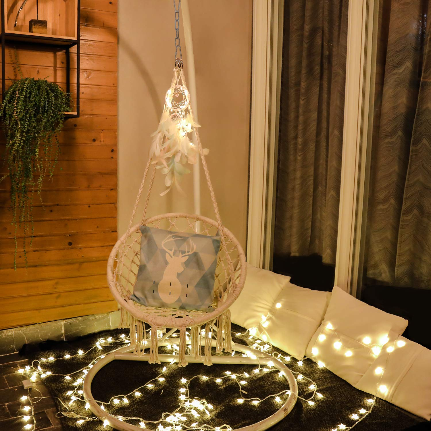 X Cosrack Hammock Swing Chair With Dream Catcher For 2 16 Years Old Kids Handmade Knitted Macrame Hanging Swing Chair For Indoor Bedroom Yard Garden 230 Pound Capacity Garden Outdoor Awsumnews Co Za
