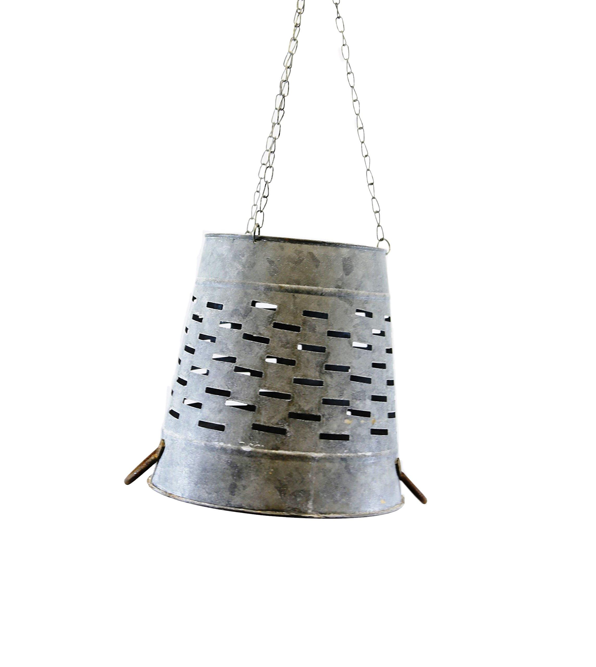 Large Gray Zinc Olive Bucket Lamp Shade