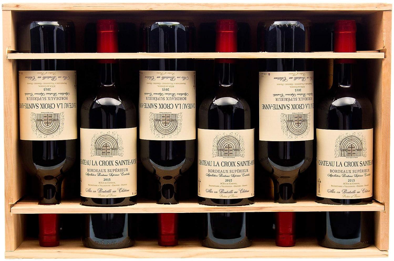 Bordeaux o Champagne Cassetta in Legno con Cerniera Legno 12 Bottiglie di Bordeaux 1