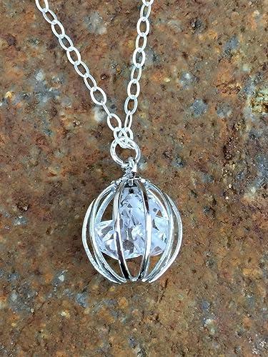 Amazon herkimer necklace herkimer diamond necklace diamond herkimer necklace herkimer diamond necklace diamond cage pendant april birthstone natural crystal aloadofball Gallery
