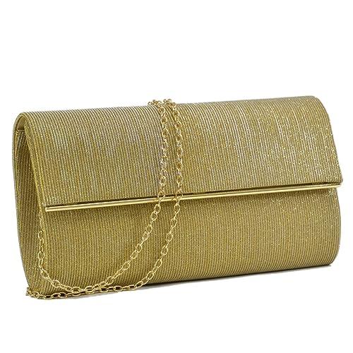 Dasein Women Evening Bag Glitter Clutch Purse Wedding Party Prom Handbag w/ Gold Crossbody Chain Str...