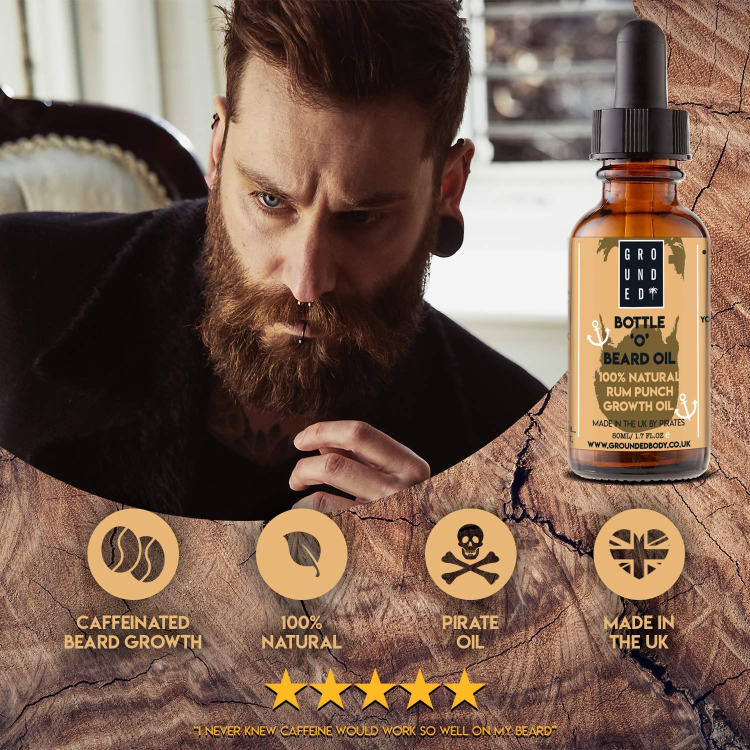 Premium Caffeinated Bottle 'O' Beard Oil for Growth & Conditioning By  Grounded - 50ml Larger Size, All Natural Rum Punch Scent- Made By Pirates  in The