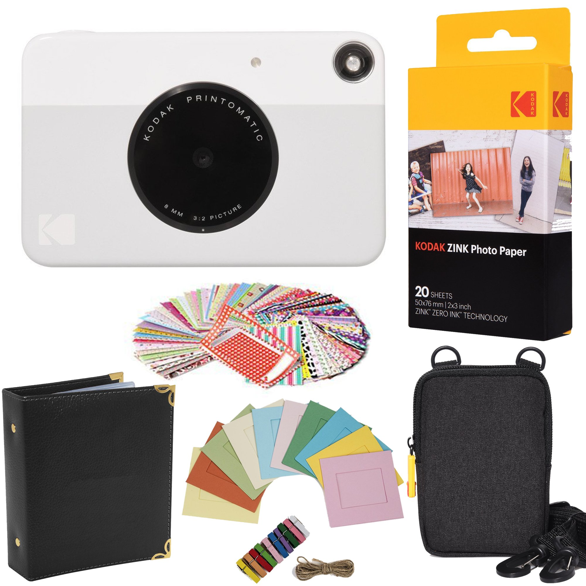 Kodak Printomatic Instant Camera (Grey) Gift Bundle + Zink Paper (20 Sheets) + Case + 100 Sticker Border Frames + Hanging Frames + Album by KODAK