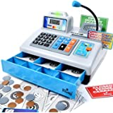Ben Franklin Toys Talking Toy Cash Register - STEM Learning 69 Piece Pretend Store with 3 Languages, Paging Microphone, Credi