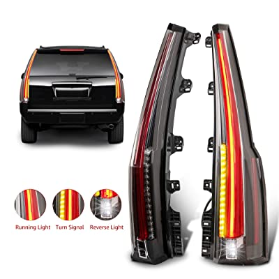 MOSTPLUS LED Tail Lights Rear Lamp Brake for 2015 2016 2020 2020 GMC Yukon Cadillac Style | Set of 2 (Red Clear): Automotive
