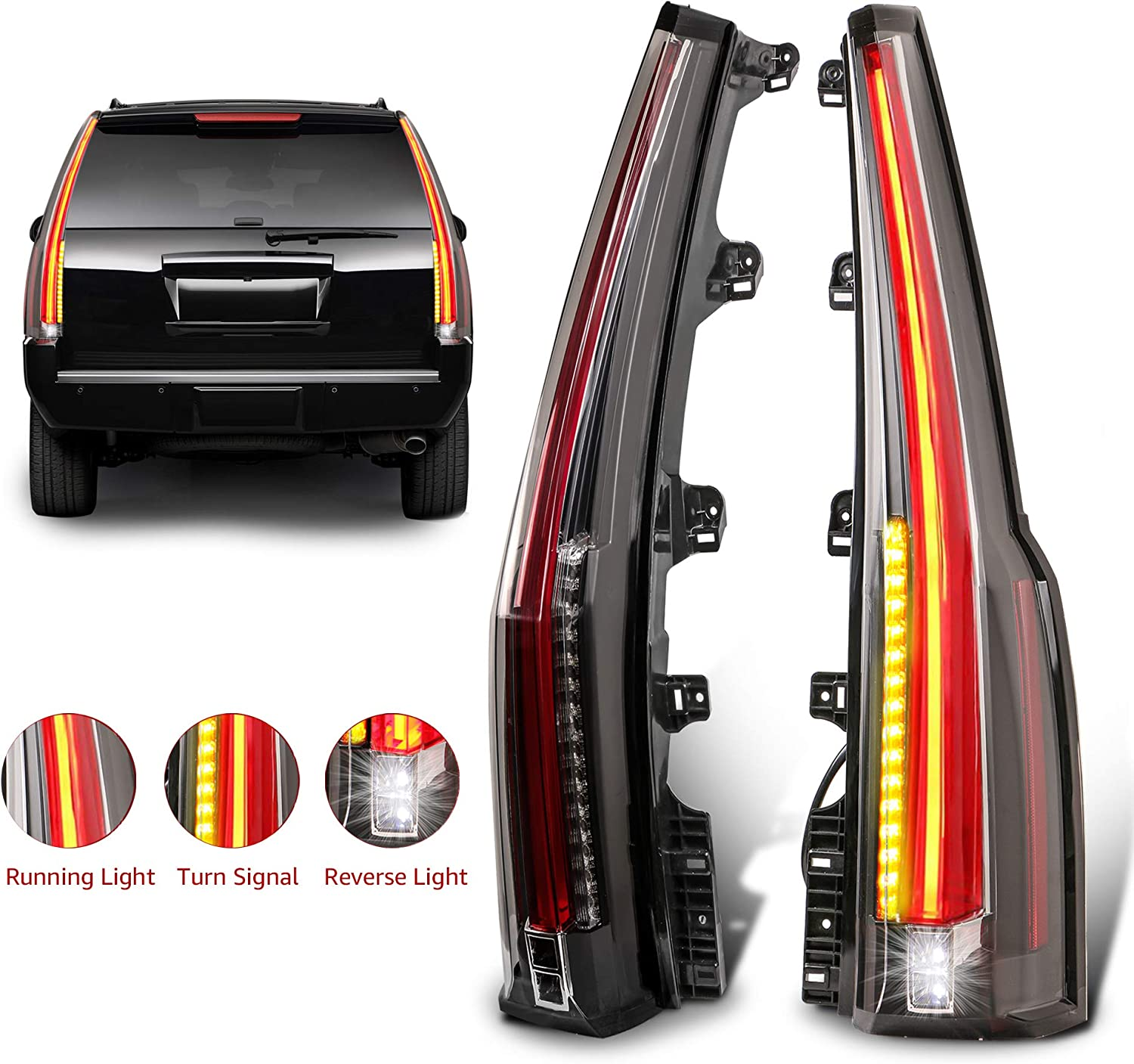 VLAND Tail Lights Assembly Compatible for GMC Yukon Chevrolet Tahoe//Suburban 2007-2014 LED Tail Lamp LED DRL Light Plug-and-Play Clear