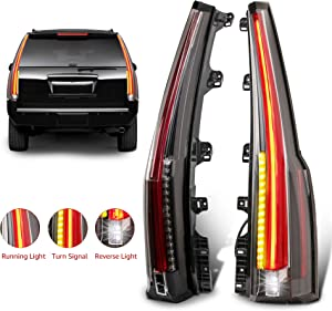 MOSTPLUS LED Tail Lights Rear Lamp Brake Compatible for 2015 2016 2017 2018 GMC Yukon Cadillac Style | Set of 2 (Red Clear)