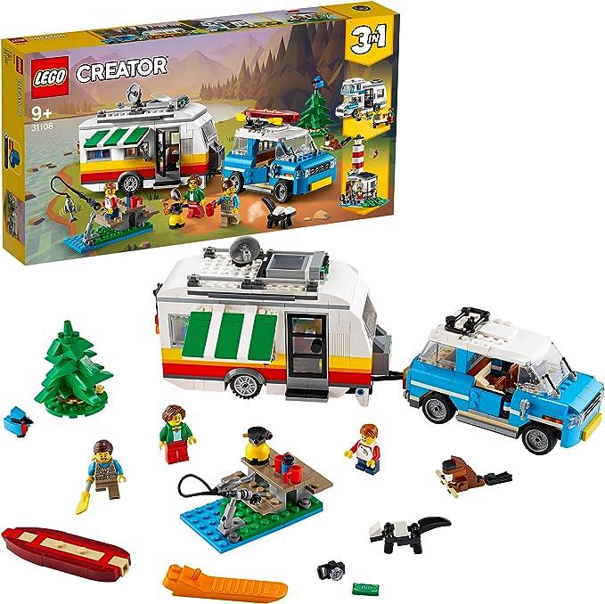 LEGO Creator Vehicles Creator 3en1 Vacaciones Familiares en Caravana Coche, Autocaravana, Faro, Juguete de Construcción Verano, multicolor (Lego ES 31108): Amazon.es: Juguetes y juegos