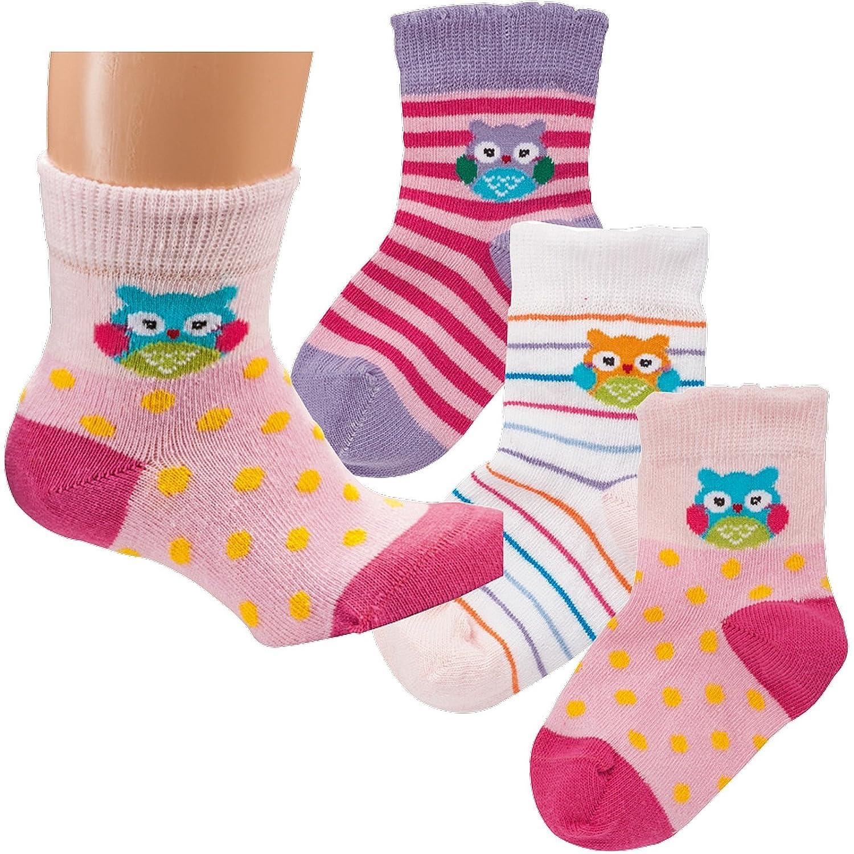 'Calcetines Pur de bebé patucos Mariquita de la suerte & búho. Pack de 3