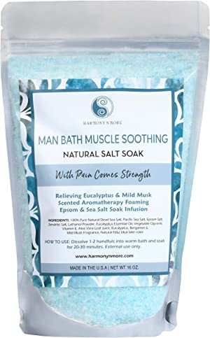 Best Man Bath Salt Soak Infusion - Epsom - Pacific Sea Salt Mix - Soothes Your Muscles, Balances and Relaxes the Body and Spirit - 16 Oz