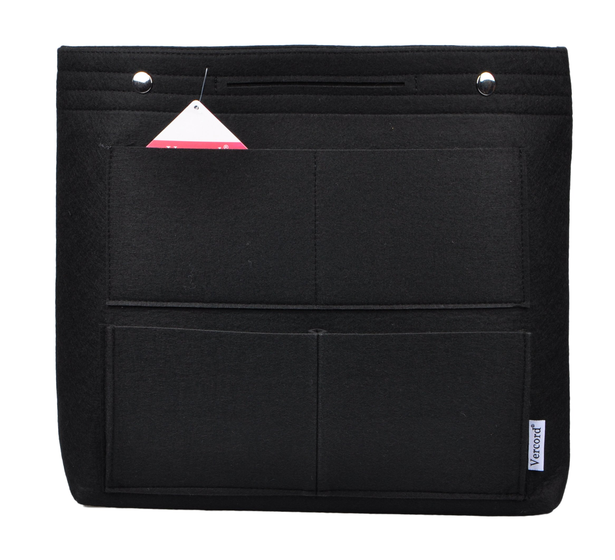Vercord Long Large Felt Handbag Tote Purse Organizer Insert Liner Multi-Pocket, Black by Vercord