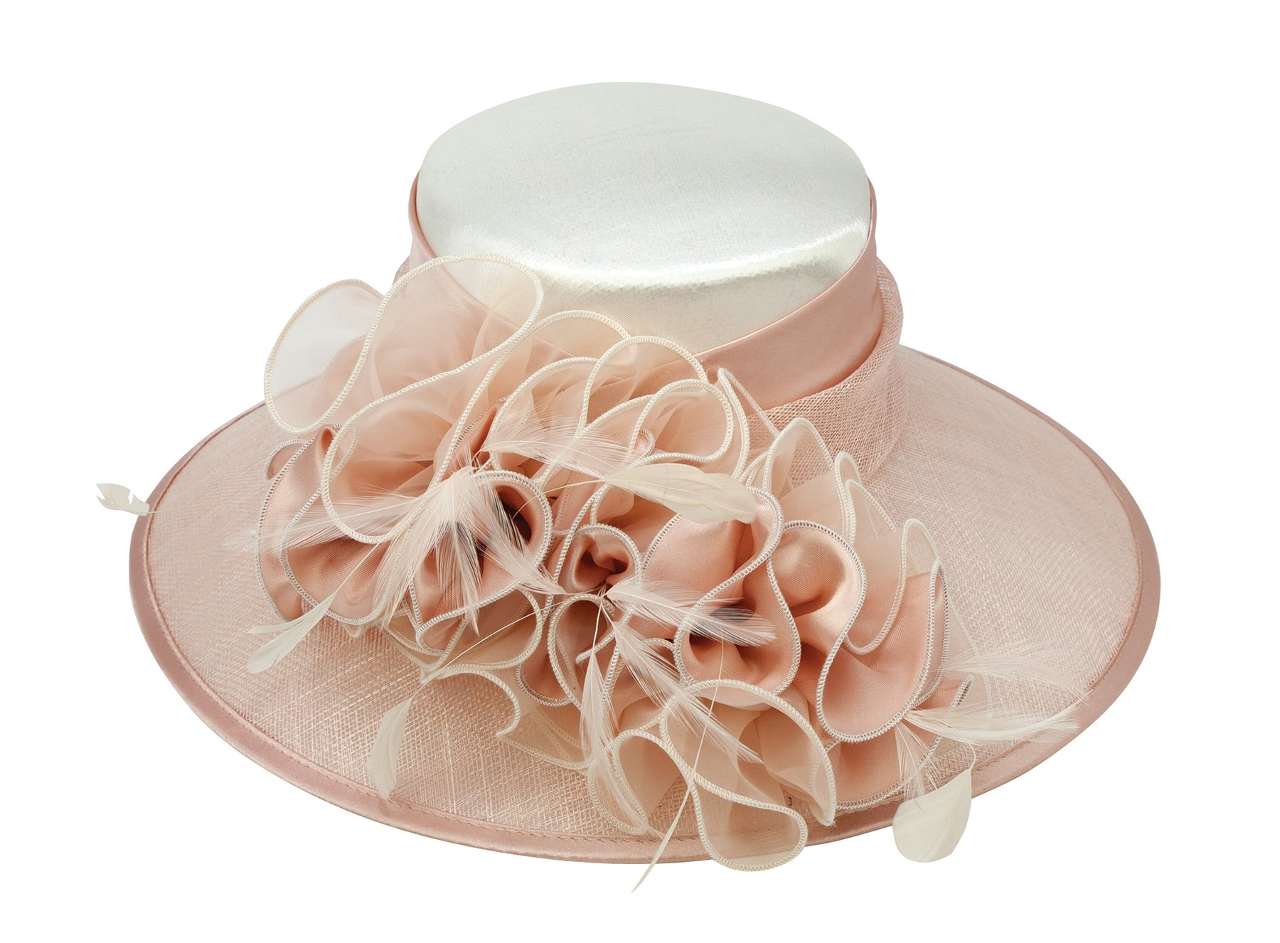 ChicHeadwear Womens Wide Brim Bow Sinamay Fashion Hat - Blush w/Ivory by ChicHeadwear