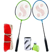 Silver's SB-100 Combo-6 (2 B/Rackets + 2 Pcs Plastic Shuttle + 1pc. Badminton Net Nylon) Green-Blue