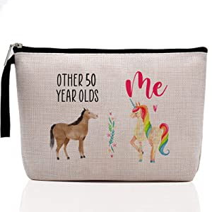 Funny 50th Birthday Gifts for Women-Other 50 Year Olds Horse, Me Unicorn-, 50 Years Old Makeup Bag for Her, Friend, Mom, Sister, Wife, Aunt, Coworker Boss Grandma