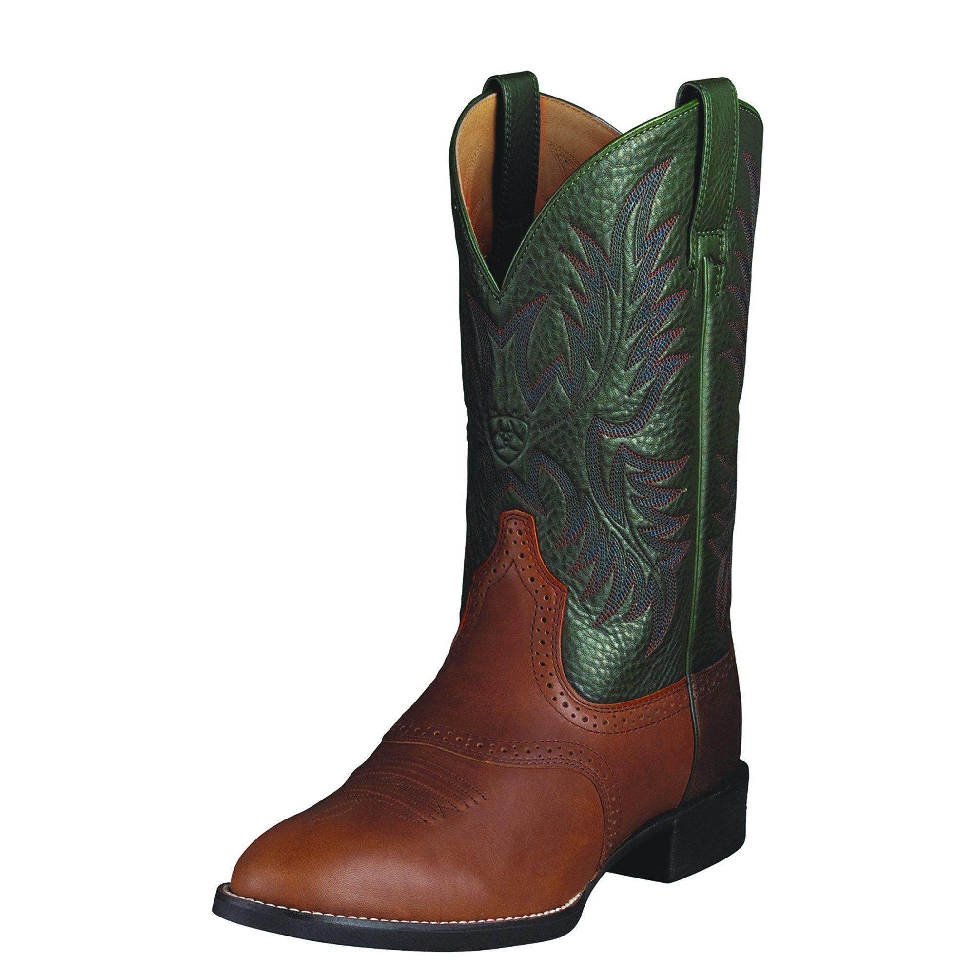 Ariat Men's Heritage Stockman Western Boot, Cedar/Green, 11 E US