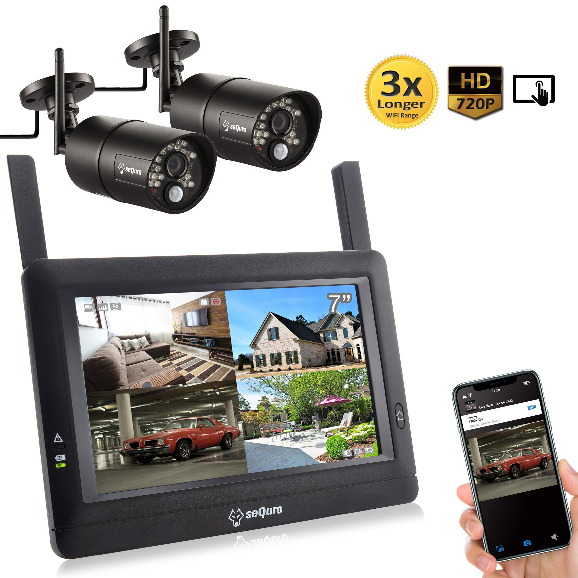 Sequro GuardPro DIY Long Range Wireless Video Surveillance System 7'' Touchscreen Monitor 2 Outdoor/Indoor Night Vision IP66 Weatherproof HD Network DVR Home Security IP Cameras Smartphone Access by Sequro