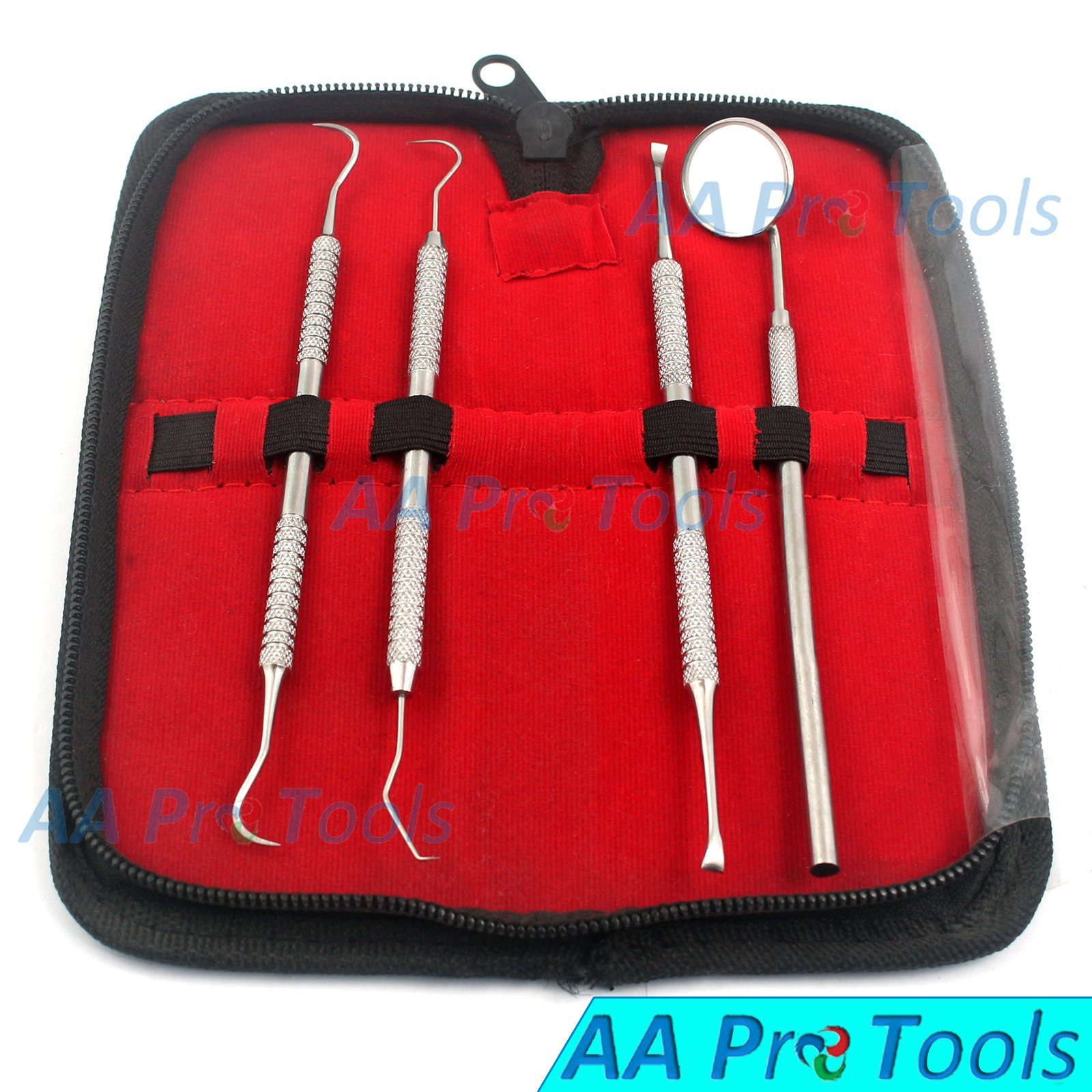 AA PRO DENTAL TOOLS KIT | STAINLESS STEEL DENTAL INSTRUMENTS & EQUIPMENT PERFECT FOR AT HOME ORAL HYGIENE & CARE - SET INCLUDES INSPECTION MIRROR, SICKLE SCALER, PICK AND TARTAR & PLAQUE SCRAPER
