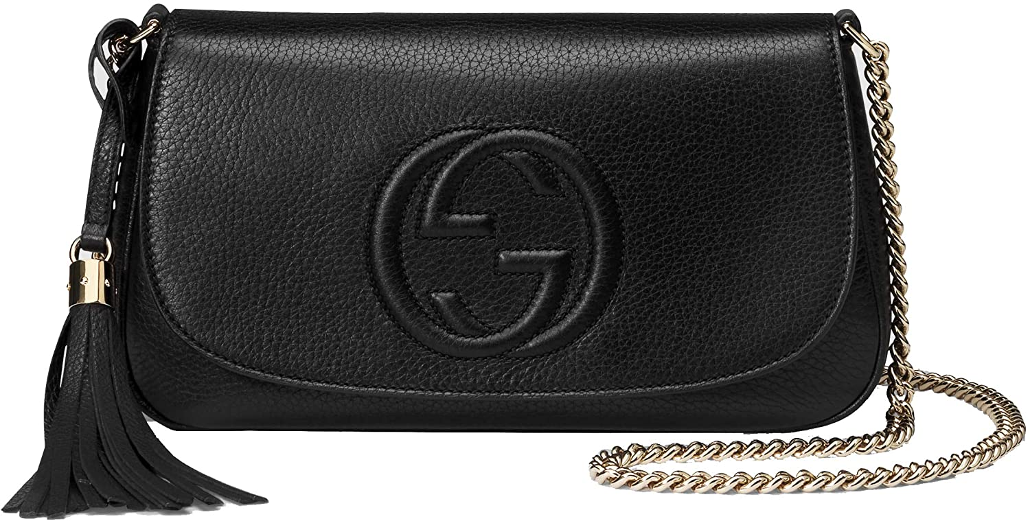 Gucci Soho Leather Flap Shoulder Bag Black Gold Tassel New Authentic