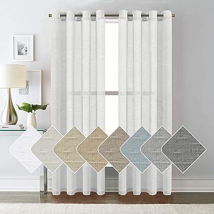Amazon.com: H.VERSAILTEX White Linen Curtain Panels/Home Decorative ...