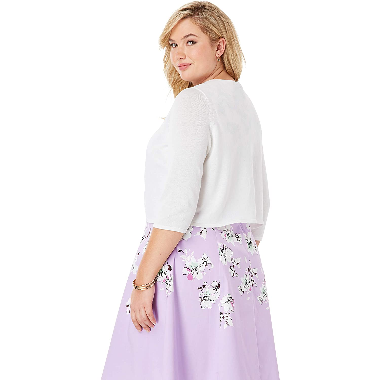 Jessica London Womens Plus Size Curved Hem Sweater Shrug