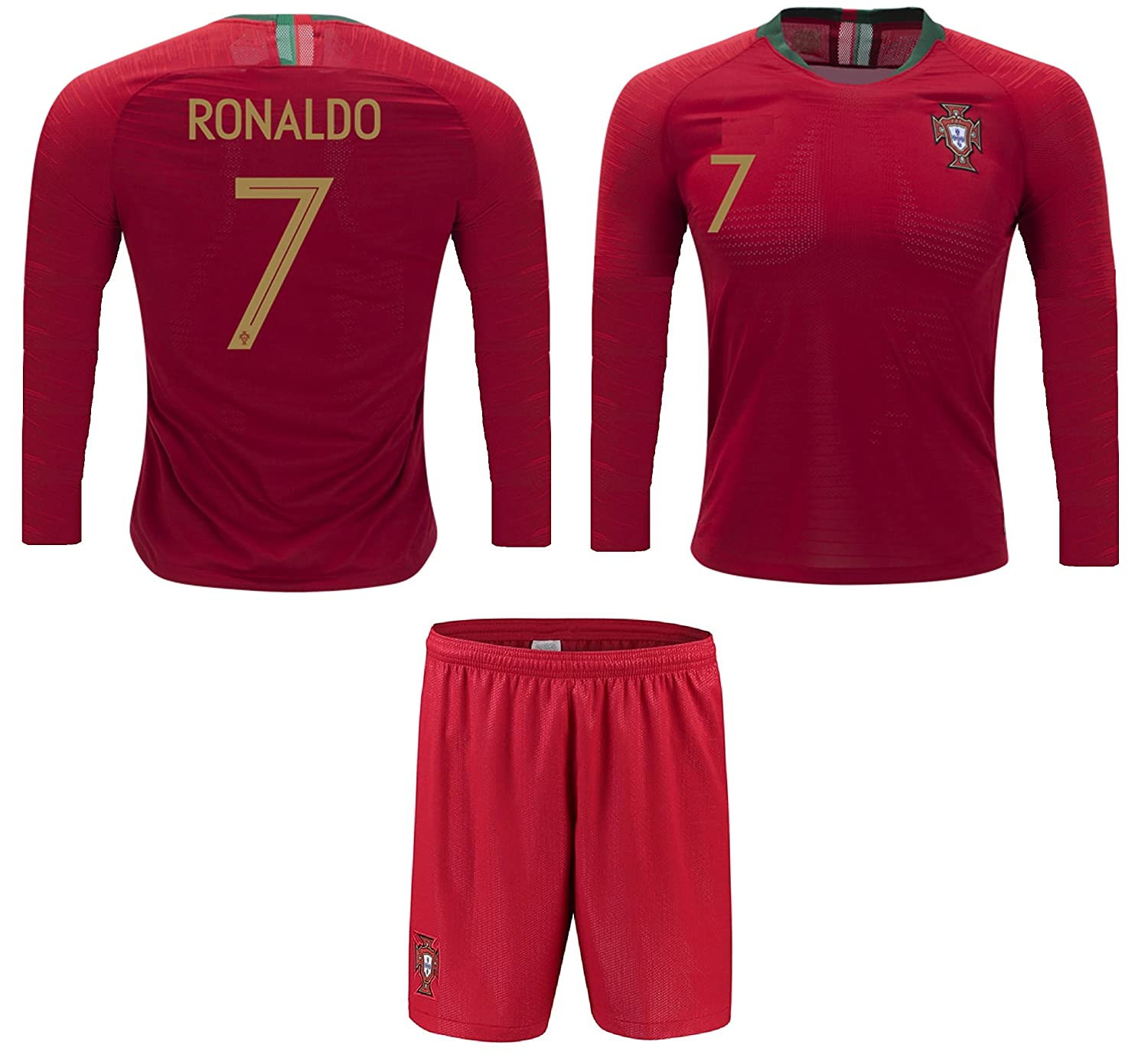 c79f9d2cf28 Amazon.com : Portugal Cristiano Ronaldo #7 Soccer Jersey and Shorts Kids  Youth Sizes Home Football World Cup Premium Gift : Sports & Outdoors