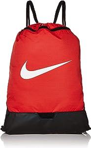Nike Brasilia Training Gymsack, Drawstring Backpack with Zipper Pocket and Reinforced Bottom, University Red/University Red