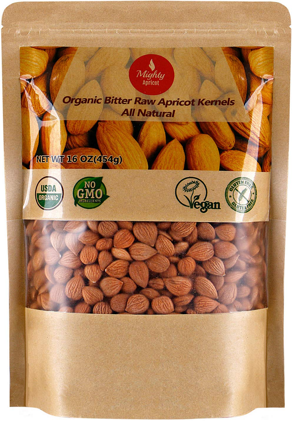 Organic Bitter Apricot Kernels(1LB) 16oz, Natural Raw USDA Organic Bitter Apricot Seeds, Vegan, Non-GMO, Gluten Free, Great source of Vitamin B17 and B15 by Mighty Apricot (Image #1)