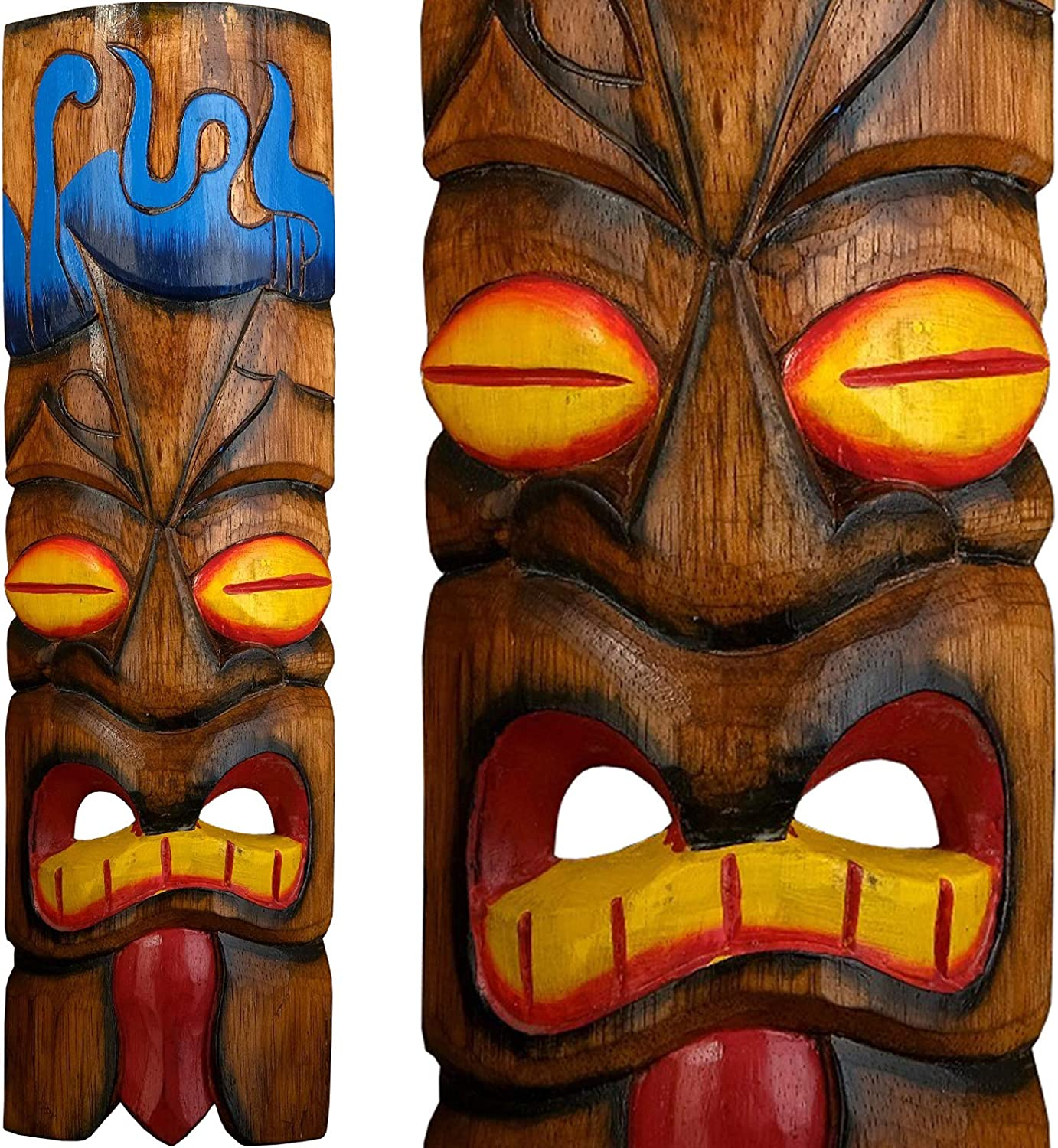 Hawaiian Tiki African Mask Aboriginal Style Hand Painted Wooden Mask Wall Hanging Decor African Decor - Bar Style Island Art Hand Carved Wood African Wall Decor Masks 20
