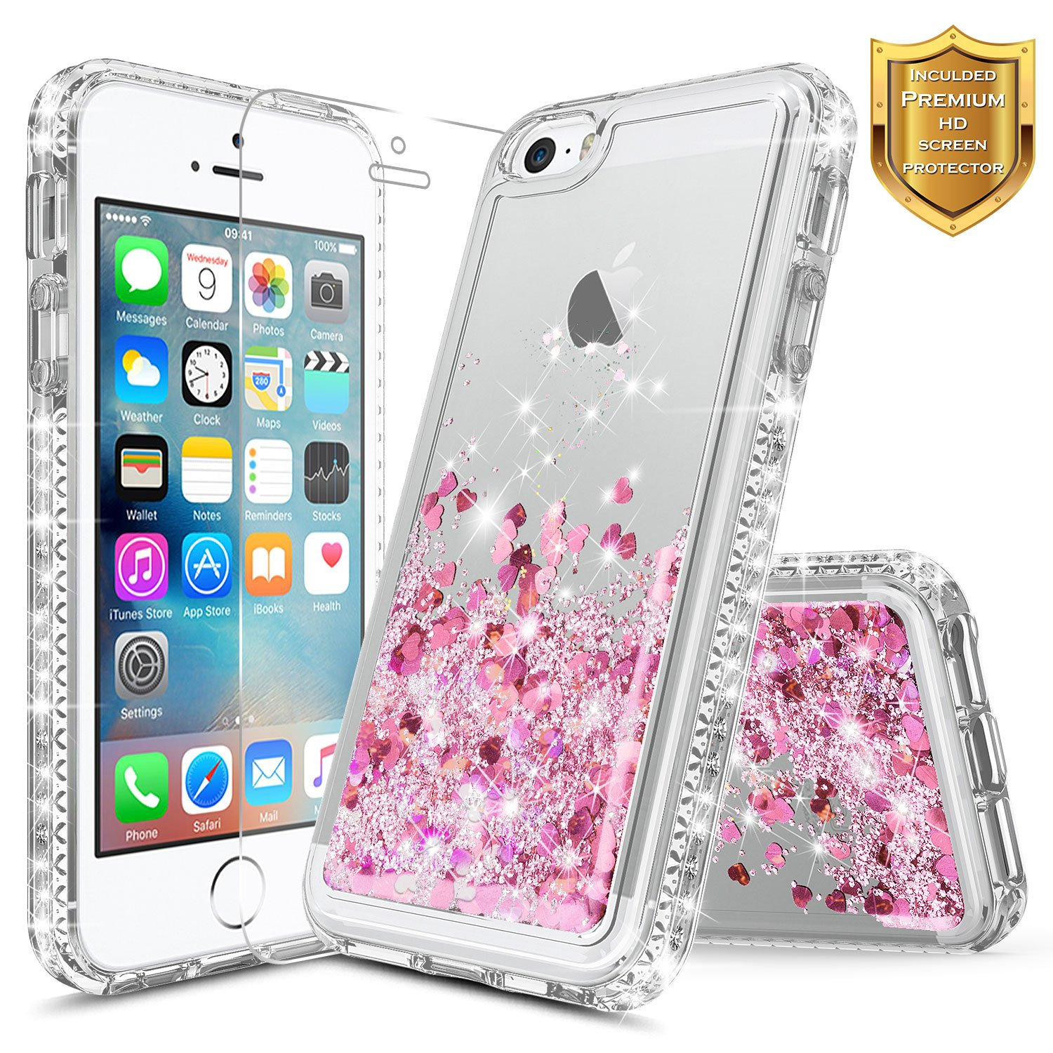 iPhone 5S Case, iPhone SE/iPhone 5 Case w/[Tempered Glass Screen Protector], NageBee Glitter Liquid Quicksand Waterfall Floating Flowing Sparkle Shiny Bling Diamond Girls Cute Case -Pink/Purple NGBIPHONE5DZLSFZ