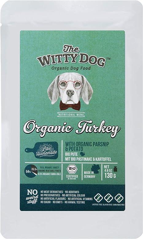 THE WITTY DOG, Comida Húmeda Perros, 100% Certificada Bio Orgánica, Alimento Completo: Pavo (64%) con Chirivía & Potata, Bolsa 15x130 Gr. (Proteína ...